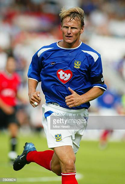 Teddy Sheringham in action on his debut for Portsmouth during the PreSeason Friendly match between AFC Bournemouth and Portsmouth held on July 19...