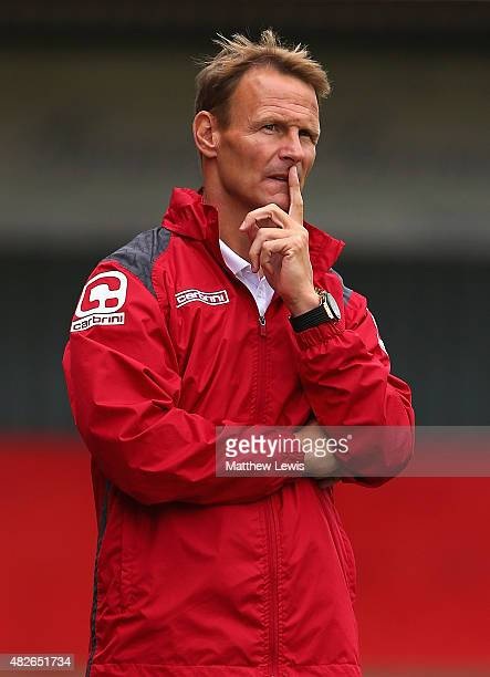 Teddy Sheringham Manager of Stevenage looks on during a preseason friendly match between Stevenage and Tottenham XI at the Lamax Stadium on August 1...