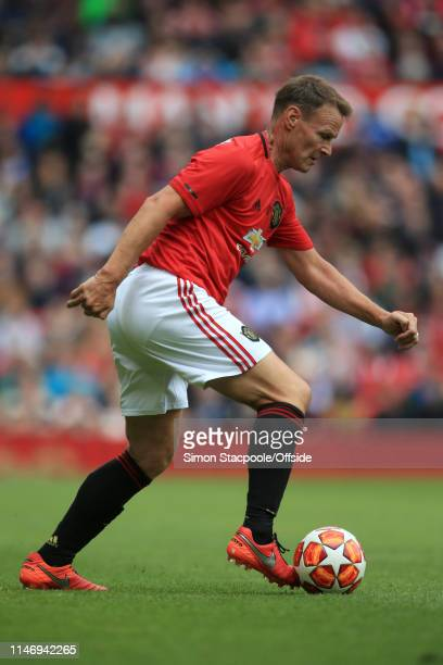 Teddy Sheringham of Man Utd in action during the Treble Reunion friendly match between the Manchester United '99 Legends and FC Bayern Legends at Old...