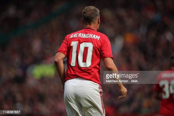 Teddy Sheringham of Manchester United '99 Legends during the Manchester United '99 Legends v FC Bayern Legends match at Old Trafford on May 26 2019...