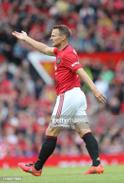 Teddy Sheringham of Manchester United '99 Legends reacts during the 20 Years Treble Reunion match between Manchester United '99 Legends and FC Bayern...