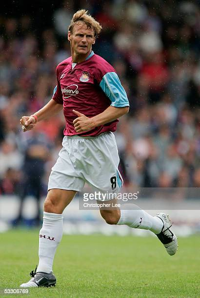 Teddy Sheringham of West Ham in action during the preseason friendly match between Crystal Palace and West Ham at Selhurst Park on July 30 2005 in...