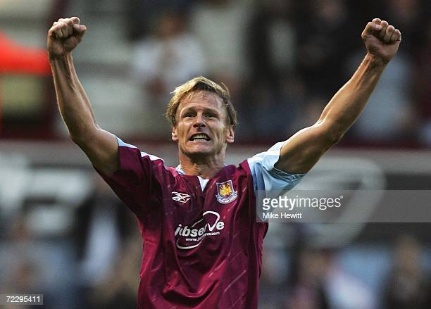 Teddy Sheringham of West Ham United celebrates as he scores the first goal during the Barclays Premiership match between West Ham United and...