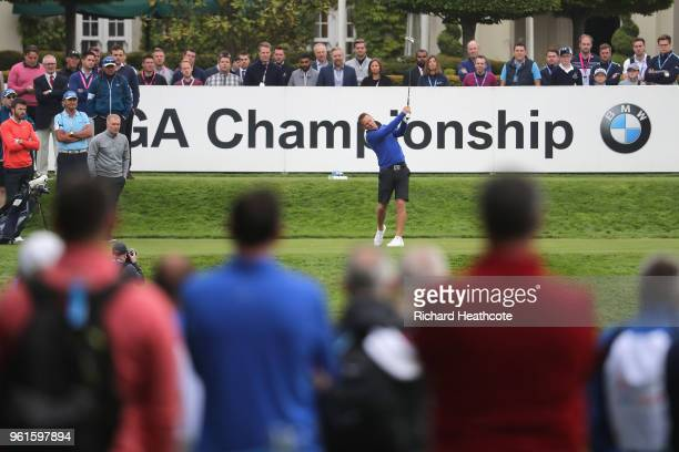Teddy Sheringham tees off during the Pro Am for the BMW PGA Championship at Wentworth on May 23 2018 in Virginia Water England