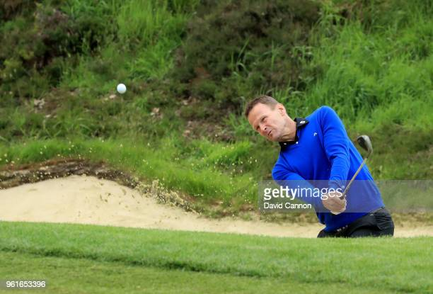 Teddy Sheringham the former England and Premier League soccer star plays a shot during the proam for the 2018 BMW PGA Championship on the West Course...