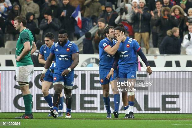 Teddy Thomas of France celebrates scoring a try with Remi Lamerat during the NatWest 6 Nations match between France and Ireland at Stade de France on...