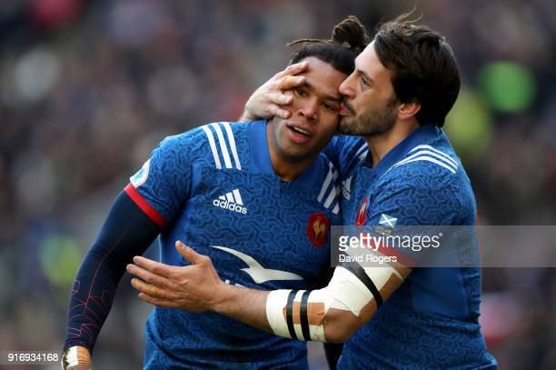 Teddy Thomas of France celebrates with teammate Remi Lamerat after scoring his sides first try during the NatWest Six Nations match between Scotland...