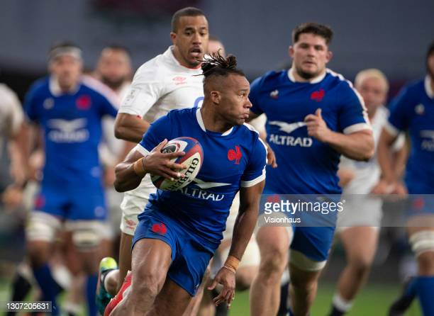Teddy Thomas of France during the Guinness Six Nations match between England and France at Twickenham Stadium on March 13, 2021 in London, England....