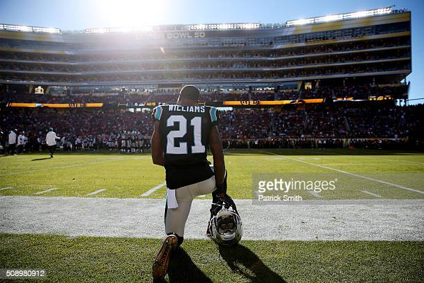 Teddy Williams of the Carolina Panthers kneels on the sideline prior to playing the Denver Broncos in Super Bowl 50 at Levi's Stadium on February 7...