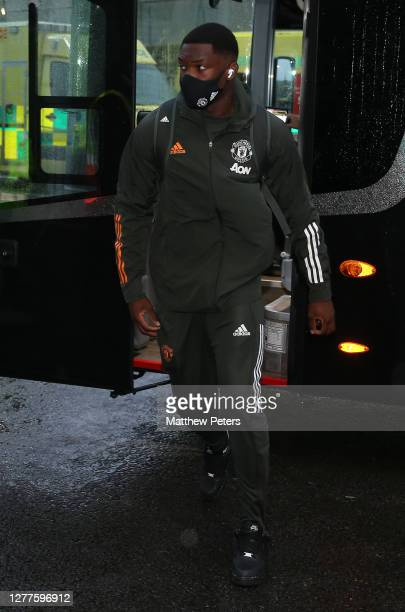 Teden Mengi of Manchester United arrives ahead of the Carabao Cup fourth round match between Brighton and Hove Albion and Manchester United at Amex...
