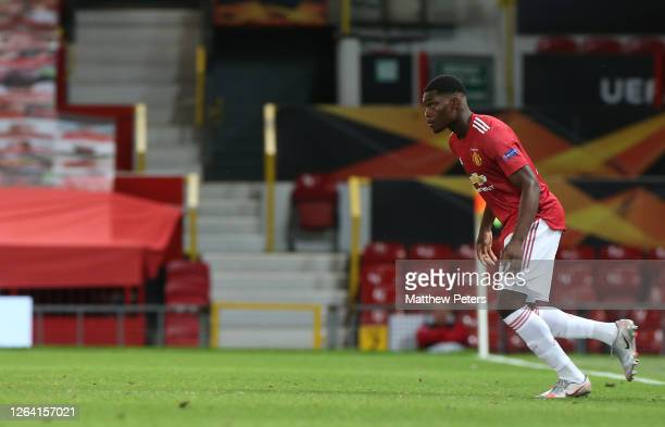 Teden Mengi of Manchester United comes on as a substitute during the UEFA Europa League round of 16 second leg match between Manchester United and...