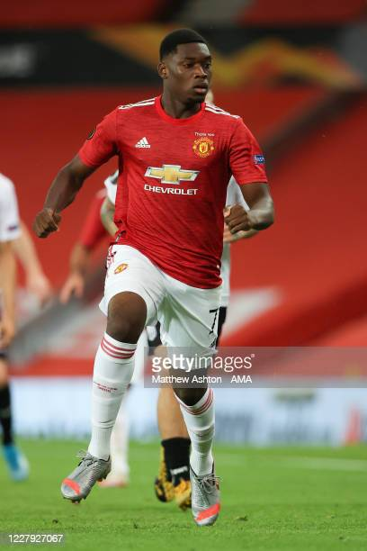Teden Mengi of Manchester United during the UEFA Europa League round of 16 second leg match between Manchester United and LASK at Old Trafford on...