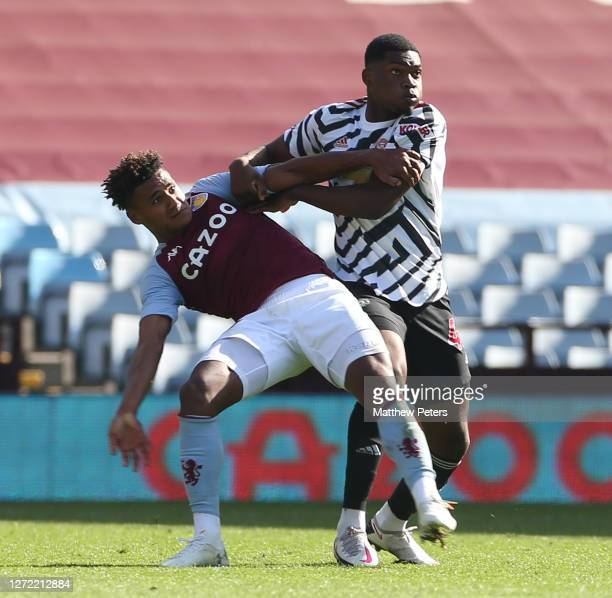 Teden Mengi of Manchester United in action during a preseason friendly match between Aston Villa and Manchester United at Villa Park on September 12...