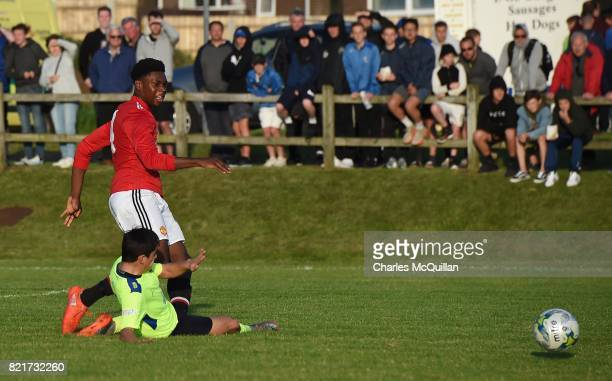 Teden Mengi of Manchester United scores during the NI Super Cup junior section game between Manchester United and Colina at Seahaven on July 24 2017...