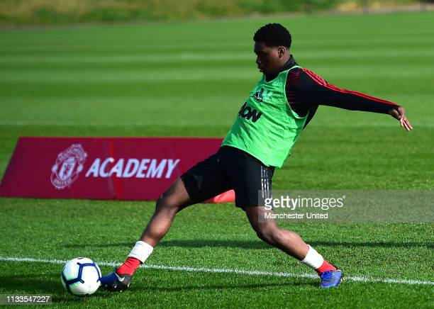 Teden Mengi of Manchester United U18s warms up ahead of the U18 Premier League match between Manchester United U18s and West Bromwich Albion U18s at...