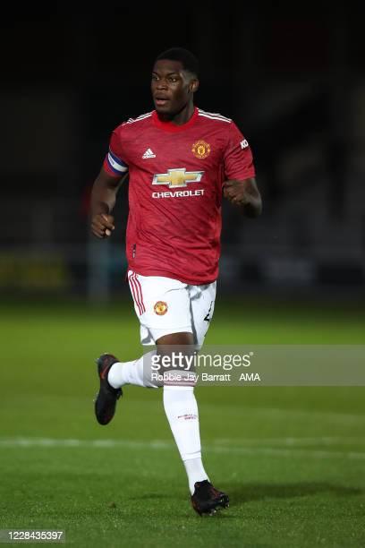 Teden Mengi of Manchester United U21 during the EFL Trophy Northern Group B fixture between Salford City v Manchester United U21at Moor Lane on...