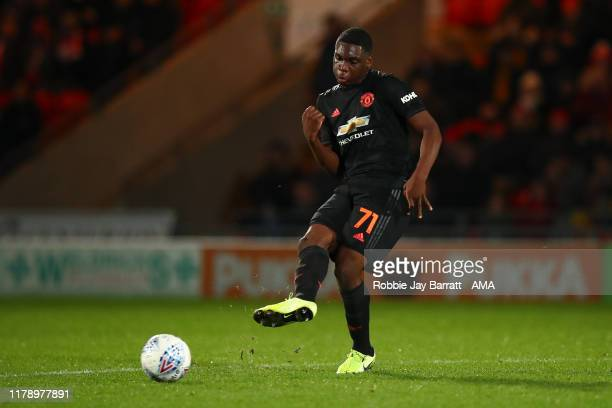 Teden Mengi of Manchester United U21 during the Leasingcom Trophy match fixture between Doncaster Rovers and Manchester United U21's at Keepmoat...