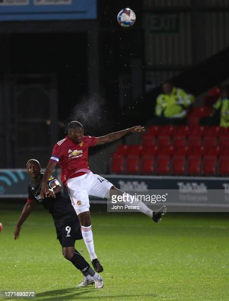 Teden Mengi of Manchester United U21s in action during the EFL Trophy match between Salford City and Manchester United U21s at Moor Lane on September...
