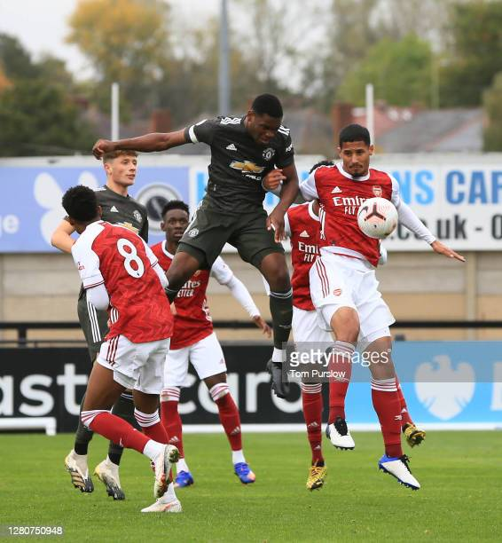 Teden Mengi of Manchester United U23s in action during the Premier League 2 match between Arsenal U23s and Manchester United U23s at Meadow Park on...