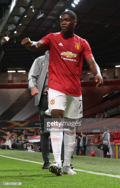 Teden Mengi of Manchester United walks off after the UEFA Europa League round of 16 second leg match between Manchester United and LASK at Old...