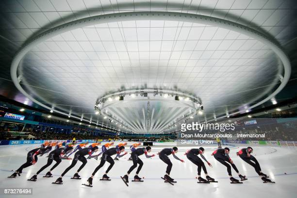 TedJan Bloemen of Canada and Sven Kramer of the Netherlands compete in the 5000m Mens race on day three during the ISU World Cup Speed Skating held...
