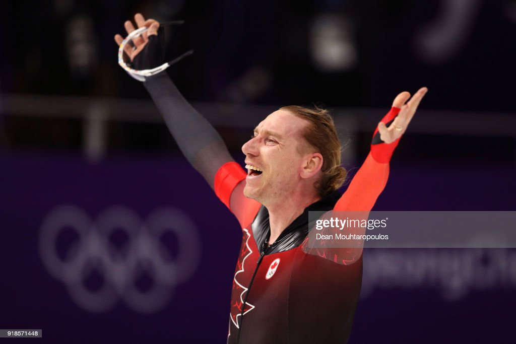 Ted-Jan Bloemen of Canada celebrates after setting an Olympic record during the Speed Skating Men's 10,000m on day six of the PyeongChang 2018 Winter Olympic Games at Gangneung Oval on February 15, 2018 in Gangneung, South Korea.