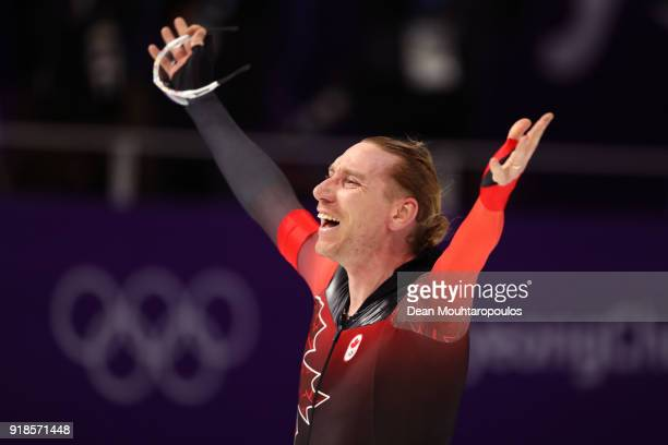Ted-Jan Bloemen of Canada celebrates after setting an Olympic record during the Speed Skating Men's 10,000m on day six of the PyeongChang 2018 Winter...