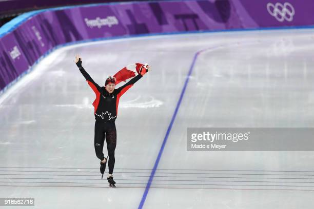 Ted-Jan Bloemen of Canada celebrates winning the gold medal after setting an Olympic record during the Speed Skating Men's 10,000m on day six of the...