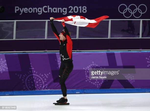 Ted-Jan Bloemen of Canada celebrates winning the gold medal and setting an Olympic record during the Speed Skating Men's 10,000m on day six of the...
