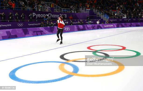 Ted-Jan Bloemen of Canada celebrates winning the gold medal and setting an Olympic record in the Speed Skating Men's 10,000m on day six of the...