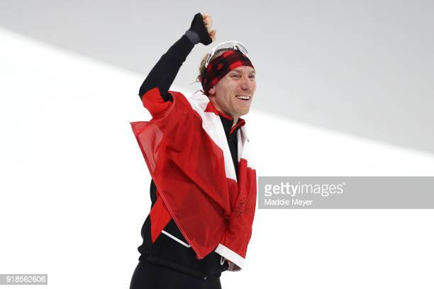 Ted-Jan Bloemen of Canada celebrates winning the gold medal with an Olympic record during the Speed Skating Men's 10,000m on day six of the...