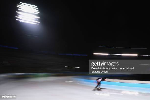 TedJan Bloemen of Canada competes in the 5000m Mens race during the World Allround Speed Skating Championships at the Olympic Stadium on March 10...