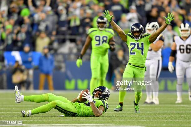 Tedric Thompson of the Seattle Seahawks is pumped after a game changing interception in the fourth quarter of the game against the Los Angeles Rams...
