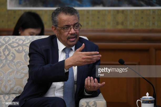 Tedros Adhanom Director General of the World Health Organization meets with with Chinese State Councilor and Foreign Minister Wang Yi at the...