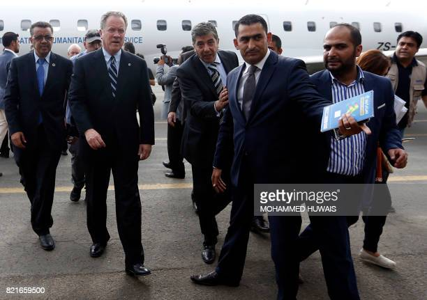 Tedros Adhanom Directorgeneral of the World Health Organization and David Beasley Executive Director of the UN World Food Programme arrive at Sanaa...