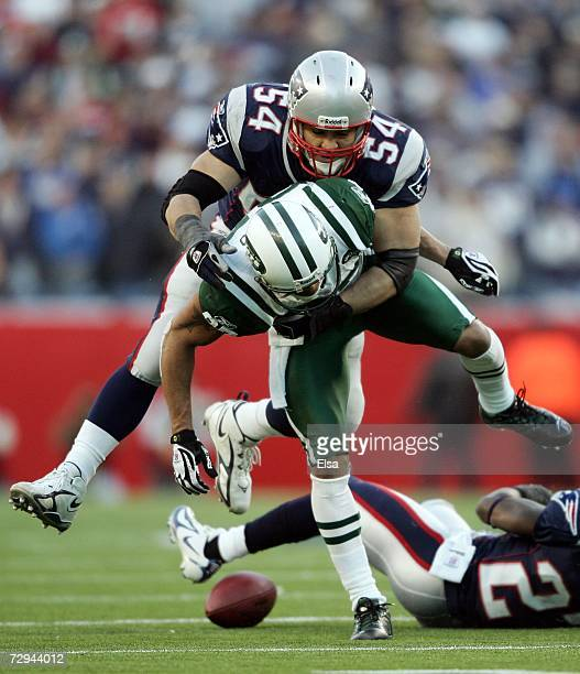 Tedy Bruschi of the New England Patriots breaks up a pass intended for Laveranues Coles of the New York Jets during the AFC Wild Card Playoff Game at...