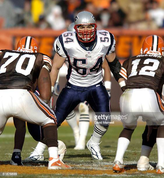 Tedy Bruschi of the New England Patriots in action against the Cleveland Browns at Cleveland Browns Stadium on December 5 2004 in Cleveland Ohio The...