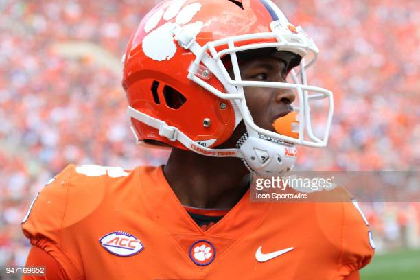Tee Higgins after scoring a touchdown during action in the Clemson Spring Football game at Clemson Memorial Stadium on April 14 2018 in Clemson SC