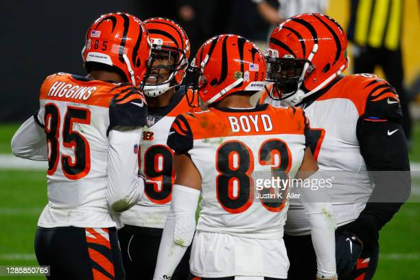 Tee Higgins of the Cincinnati Bengals celebrates a two-yard touchdown against the Pittsburgh Steelers during their NFL game at Heinz Field on...