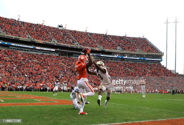Tee Higgins of the Clemson Tigers catches a touchdown against Nasir Greer of the Wake Forest Demon Deacons during their game at Memorial Stadium on...