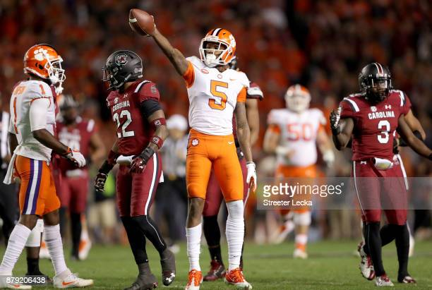 Tee Higgins of the Clemson Tigers reacts after a play against the South Carolina Gamecocks during their game at WilliamsBrice Stadium on November 25...