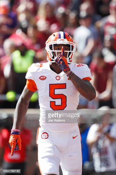 Tee Higgins of the Clemson Tigers reacts after a sevenyard touchdown reception in the second quarter of the game against the Florida State Seminoles...