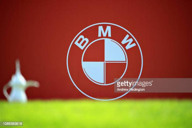 A tee marker and BMW logo during Day Three of the Omega Dubai Desert Classic at Emirates Golf Club on January 26 2019 in Dubai United Arab Emirates