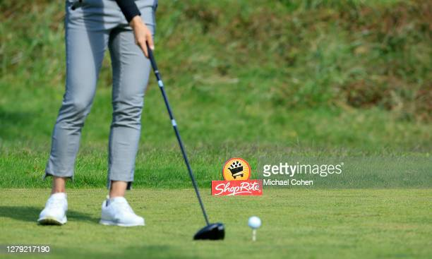 A tee marker is seen during play during the final round of the ShopRite LPGA Classic presented by Acer on the Bay Course at Seaview Hotel and Golf...