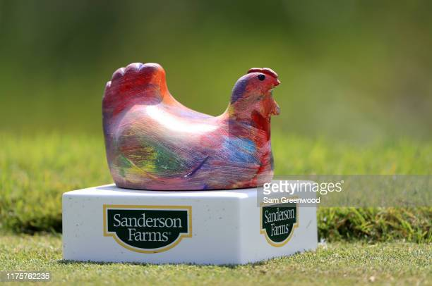 A tee marker is seen during the first round of the Sanderson Farms Championship at The Country Club of Jackson on September 19 2019 in Jackson...