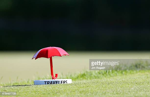 A tee marker is seen during the first round of the Travelers Championship at TPC River Highlands on June 25 2015 in Cromwell Connecticut