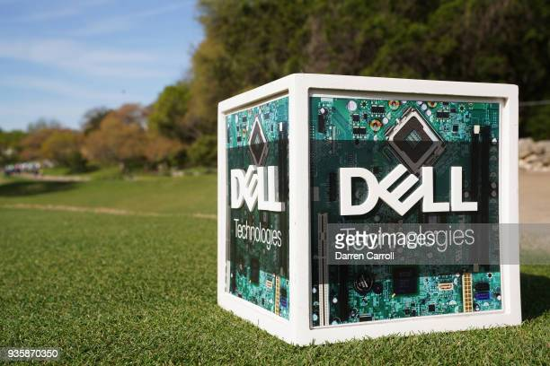 A tee marker is seen during the first round of the World Golf ChampionshipsDell Match Play at Austin Country Club on March 21 2018 in Austin Texas