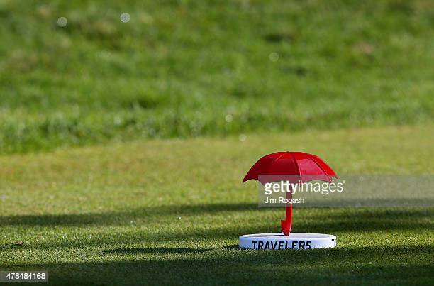A tee marker is seen on the 13th tee box during the first round of the Travelers Championship at TPC River Highlands on June 25 2015 in Cromwell...