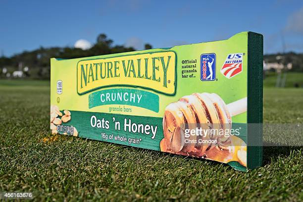 A tee marker on the 18th hole during the first round of the Champions Tour Nature Valley First Tee Open at Pebble Beach Golf Links on September 26...