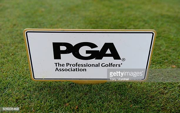 PGA tee marker on the 1st tee during the PGA Professional Championship Midland Qualifier at Little Aston Golf Club on April 29 2016 in Sutton...